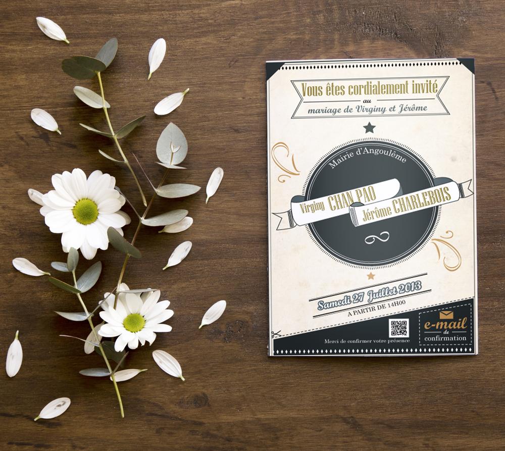 Invitation de mariage - by Roxane Chan Pao graphiste à Tours
