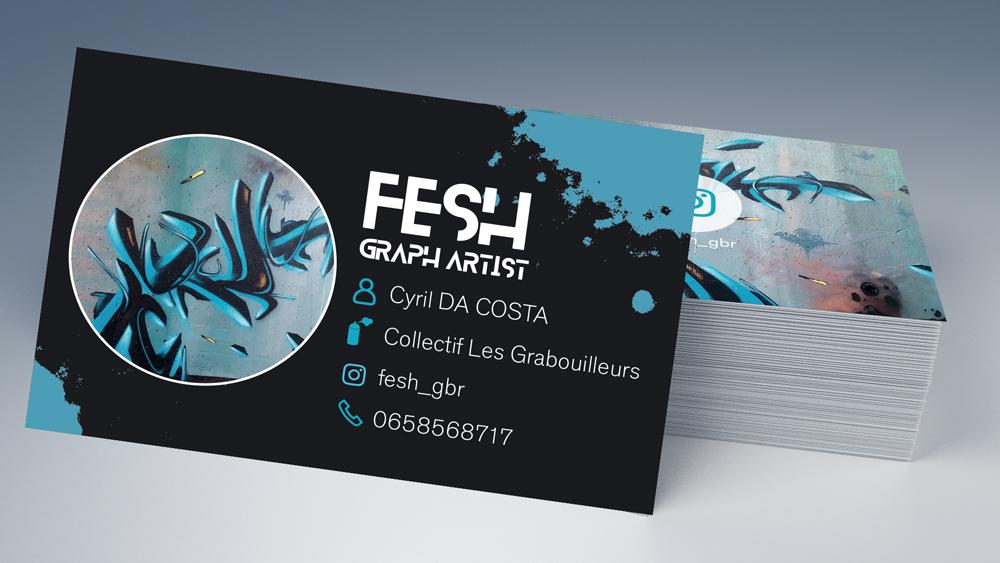 Carte de visite - Fesh, artiste Grapheur - By roxane chanpao, graphiste à tours