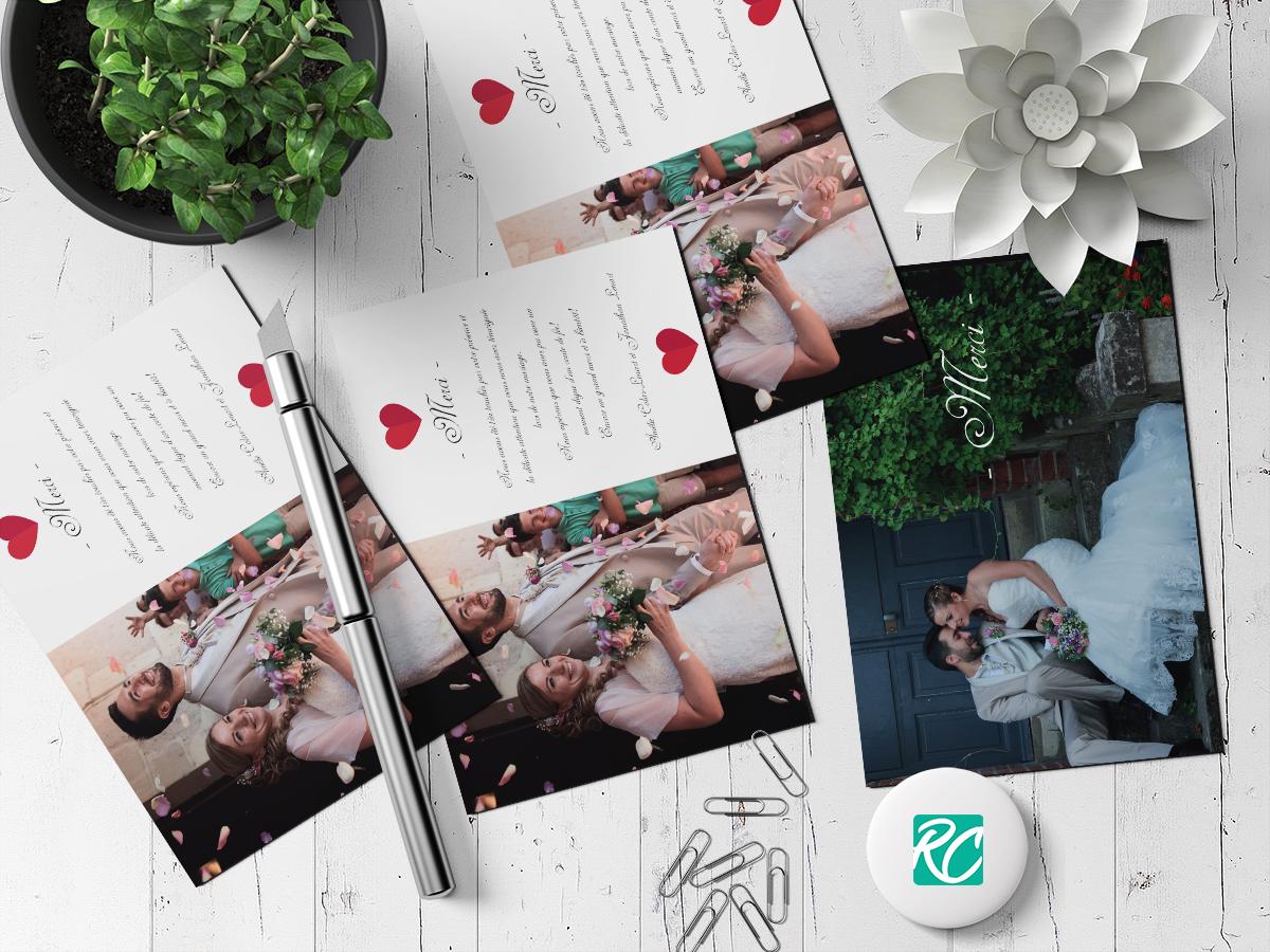 Carton de remerciement de mariage - Roxane Chan Pao Graphiste à Tours