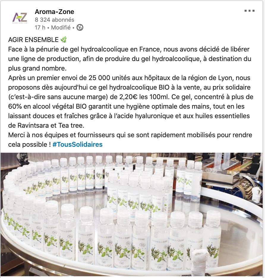 Aromazone fait face à la crise du covid19