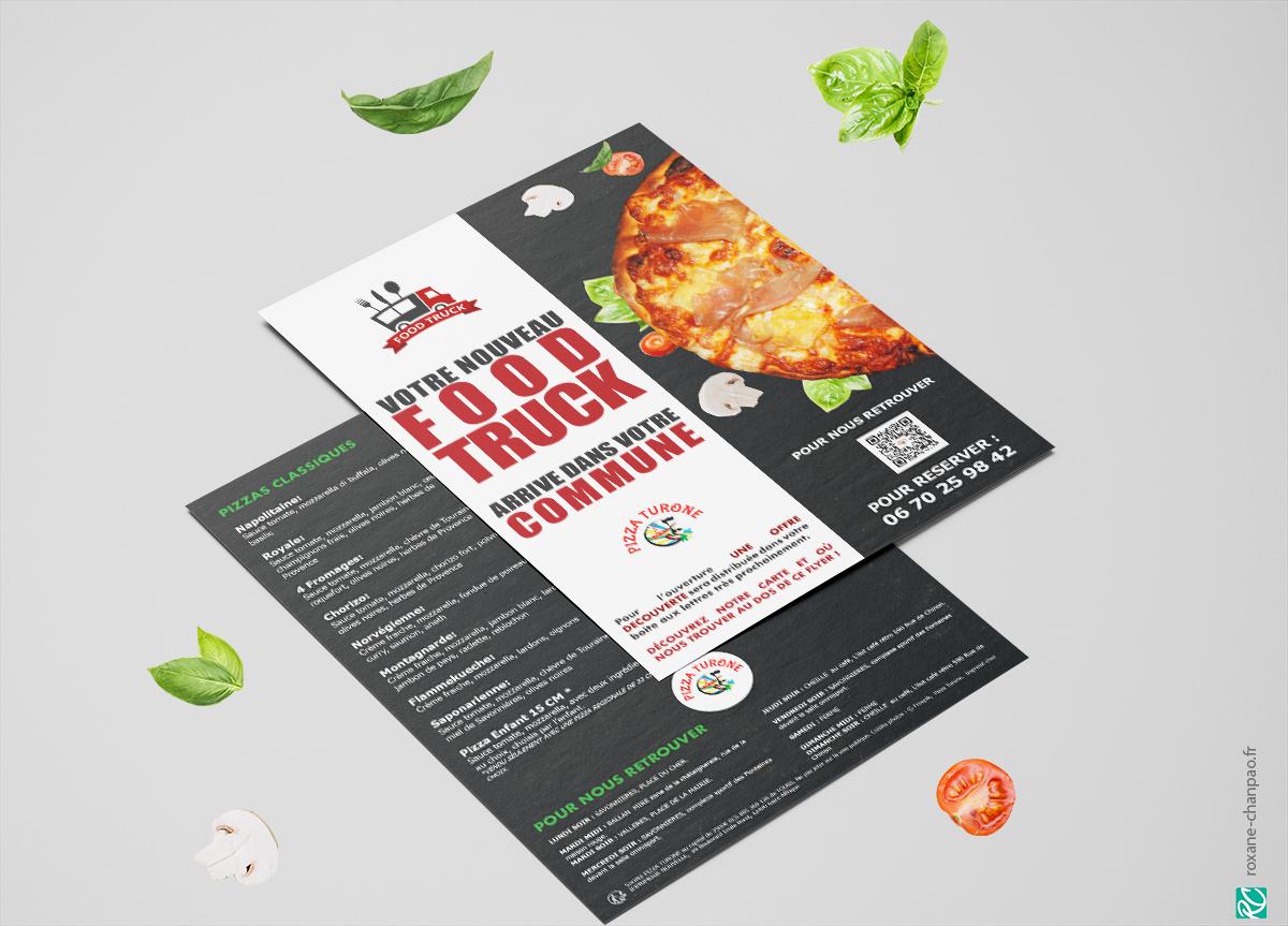 Flyer pizza turone - Par Roxane Chan Pao graphiste à Tours